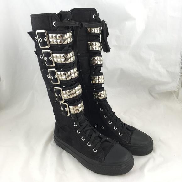 Demonia Boots Sneakers Knee High Black